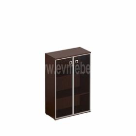 Шкаф для документов средний, двери стекло тонированное в рамке КС 301